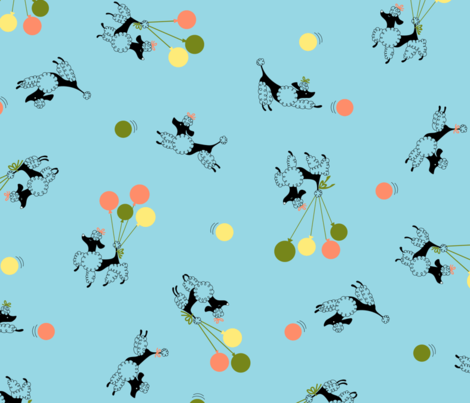 Poodles in the Park - Sky Blue fabric by tuppencehapenny on Spoonflower - custom fabric