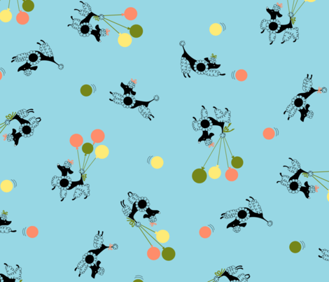 Poodles in the Park fabric by tuppencehapenny on Spoonflower - custom fabric