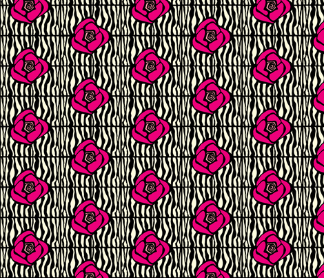 Zebra Rose fabric by pixelposy on Spoonflower - custom fabric