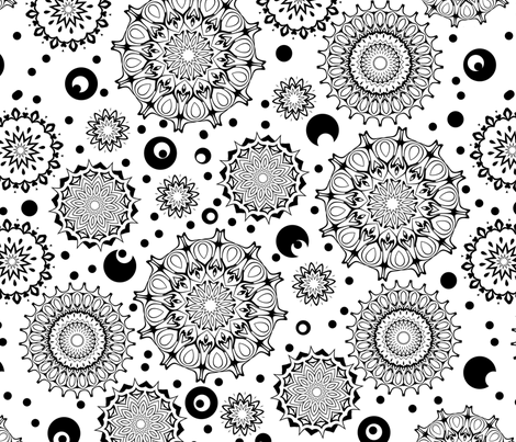 Flower Child - Black and White fabric by elarnia on Spoonflower - custom fabric
