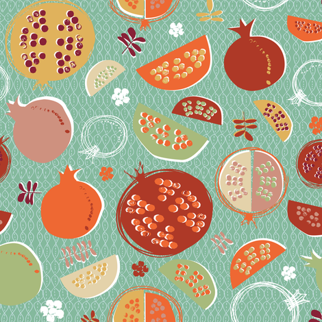 Pomegranates Goodness!! fabric by licoricelove on Spoonflower - custom fabric