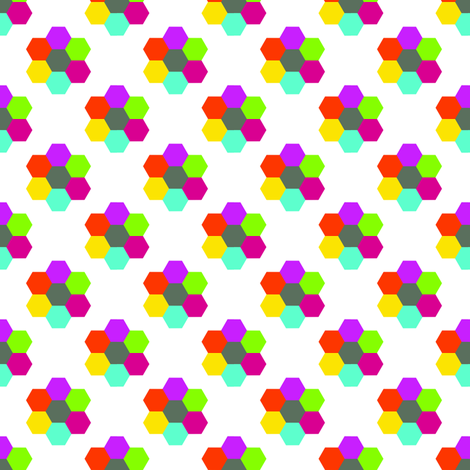 CurlyPops - Hexy Flowers in White fabric by curlypops on Spoonflower - custom fabric