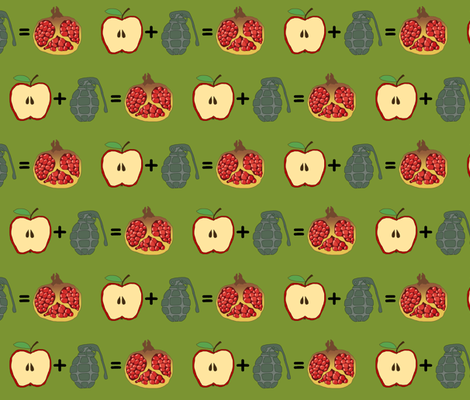 apple + grenade = pomegranate fabric by celebrindal on Spoonflower - custom fabric