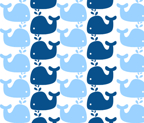 Whale silhouette print fabric little treasures spoonflower for Whale fabric
