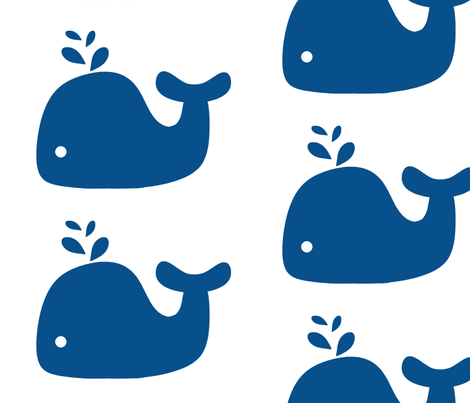 Navy Blue Silhouette Whale fabric by little_treasures on Spoonflower - custom fabric