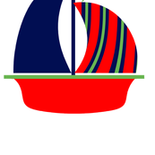 Navy Green Red Sail Boat
