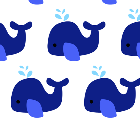 Navy Whale fabric by little_treasures on Spoonflower - custom fabric