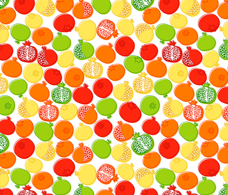 Pomegranates fabric by yaskii on Spoonflower - custom fabric