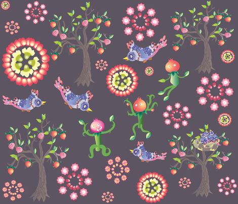 pomegranates_under_attack fabric by maribel on Spoonflower - custom fabric