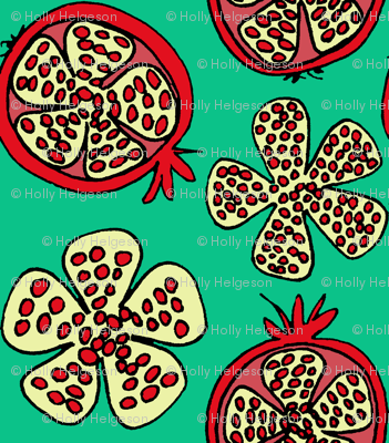 pomegranate fruit teal