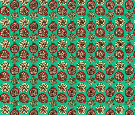 pomegranate fruit teal  fabric by holly_helgeson on Spoonflower - custom fabric