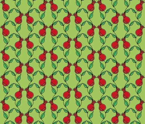 pomegranate flower green fabric by holly_helgeson on Spoonflower - custom fabric