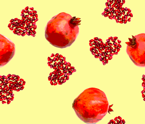 Pomegranates_ylw fabric by mysticalarts on Spoonflower - custom fabric
