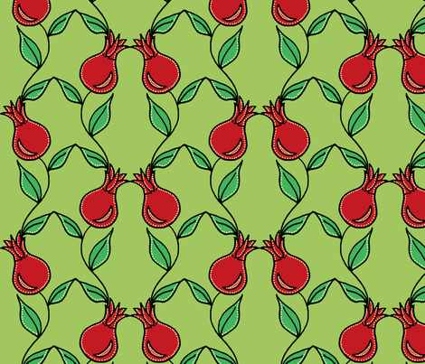 pomegranate flower green2 fabric by holly_helgeson on Spoonflower - custom fabric