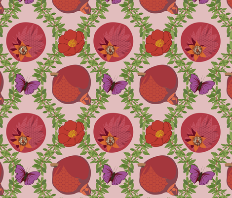 Pommegranate Damask fabric by meredithjean on Spoonflower - custom fabric