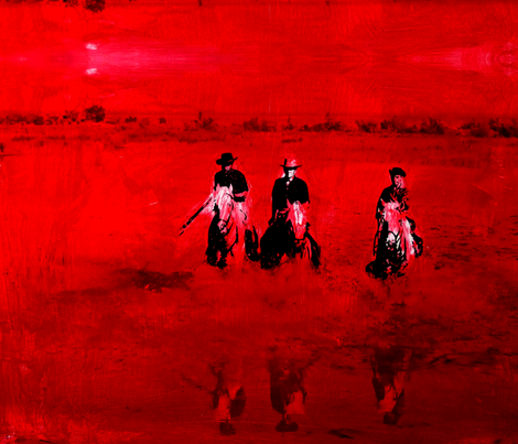 Cowboys in Red fabric by missmorice on Spoonflower - custom fabric