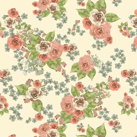Vintage Roses  fabric by ximena_huizi_camps on Spoonflower - custom fabric