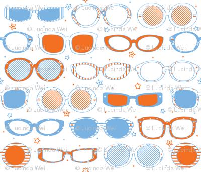Stars, Stripes & Sunglasses Orange/Blue - © Lucinda Wei