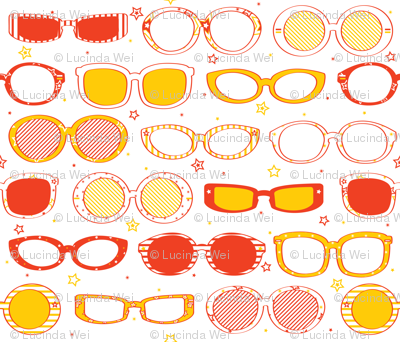 Stars, Stripes & Sunglasses Orange/Yellow - © Lucinda Wei