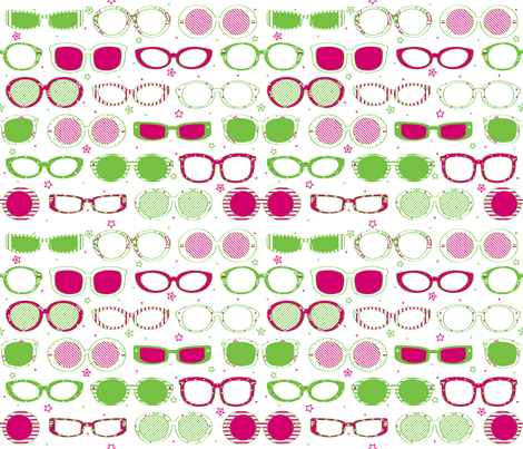 Stars, Stripes & Sunglasses Pink/Lime - © Lucinda Wei fabric by lucindawei on Spoonflower - custom fabric