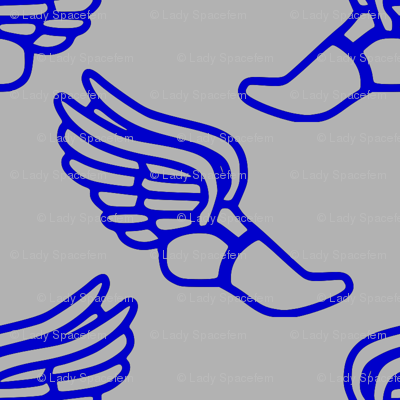 Winged feet in blue and gray