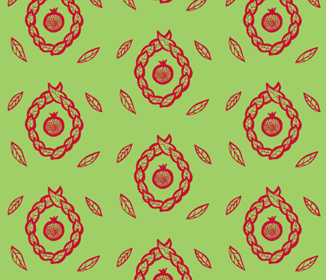 Pomegranate pistachio fabric by painter13 on Spoonflower - custom fabric