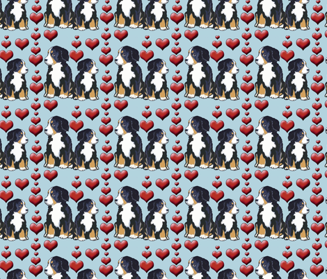 Bernese Mountain Dog Puppies and Hearts fabric by dogdaze_ on Spoonflower - custom fabric