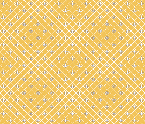 Fleur de Lys Saffron White fabric by lulabelle on Spoonflower - custom fabric