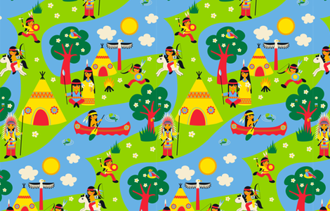 Natives playing all around fabric by nicibiene on Spoonflower - custom fabric