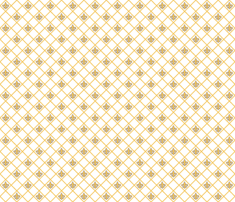 Fleur de Lys White and Saffron fabric by lulabelle on Spoonflower - custom fabric