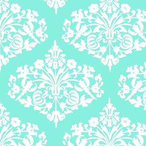Damask_White_Diamond_on_Aqua_linen