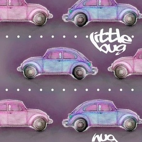 LoveBug VW Beetle - purple ( dark version )