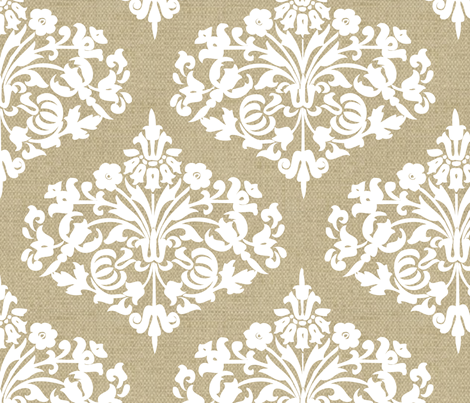 Damask White Diamond on  Natural Linen fabric by jackimoon on Spoonflower - custom fabric