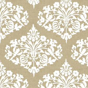 Damask White Diamond on  Natural Linen