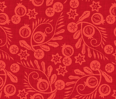 pomegranate garden red fabric by cjldesigns on Spoonflower - custom fabric