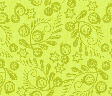 pomegranate garden green fabric by cjldesigns on Spoonflower - custom fabric