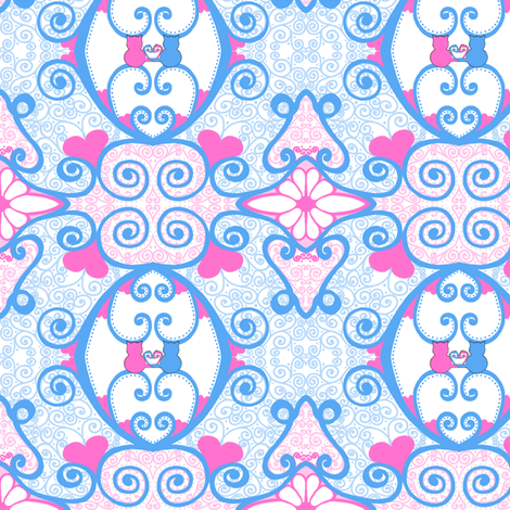 Kitty Hearts: Kitty Curlique - small fabric by tallulahdahling on Spoonflower - custom fabric