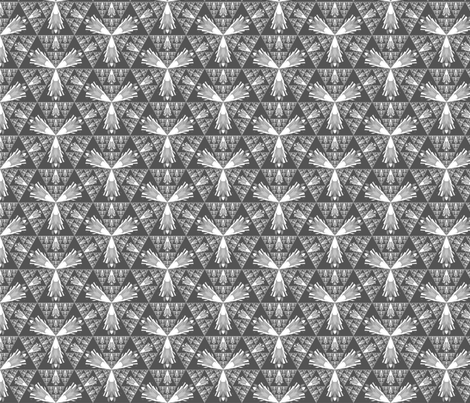 Gray and White Fractal Geometric © Gingezel™ 2012 fabric by gingezel on Spoonflower - custom fabric