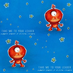 Take me to your Leader - Red Alien, starry background