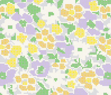 stitched flowers - purple orange yellow fabric by gingerme on Spoonflower - custom fabric