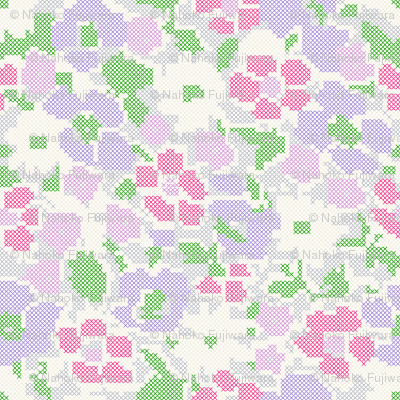 stitched flowers - violet purple pink