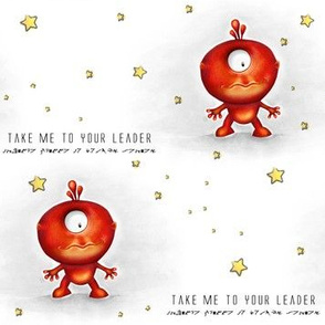 Take me to your Leader - Red Alien, white background
