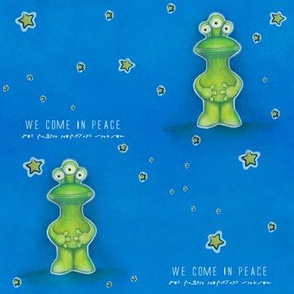 We come in peace - Green Alien with starry background