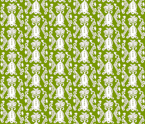 Pineapple Ikat Tuscan Green fabric by lulabelle on Spoonflower - custom fabric