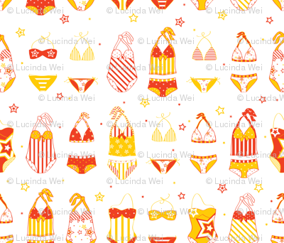 Stars, Stripes & Swimming Orange/Yellow - © Lucinda Wei