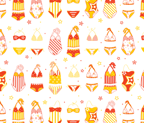 Stars, Stripes & Swimming Orange/Yellow - © Lucinda Wei fabric by lucindawei on Spoonflower - custom fabric
