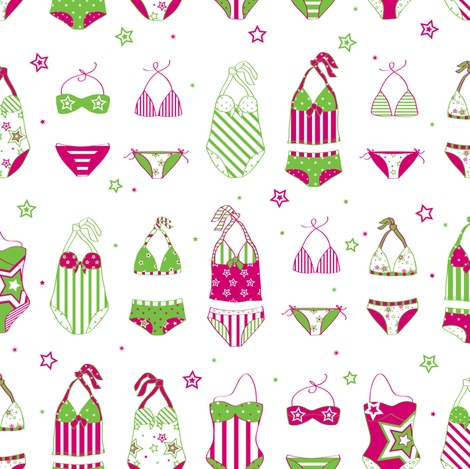 Stars, Stripes & Swimming Pink/Lime - © Lucinda Wei fabric by lucindawei on Spoonflower - custom fabric