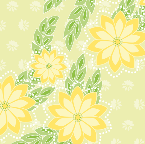 kanzashi breeze - chartreuse fabric by fox&lark on Spoonflower - custom fabric