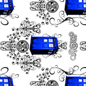 TARDIS Travels Damask horizontal