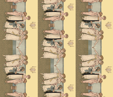 Kate Greenaway Little Dancers Border Repeat fabric by peacoquettedesigns on Spoonflower - custom fabric